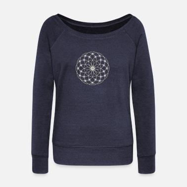 Kabbalah Flower of Life - Seed of Life - Tube Torus, digital, silver, energy, symbol, protection, powerful,  - Women's Boat Neck Long Sleeve Top