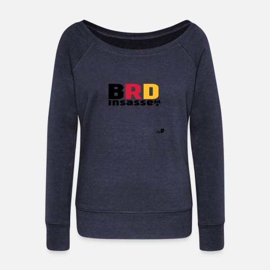 Federal Republic Of Germany Long sleeve shirts - BRD occupant - Women's Wide-Neck Sweatshirt heather navy