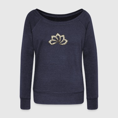 Meditation Lotus Flower, digital, gold silver, symbol of perfection and enlightenment, sacred symbol - Women's Boat Neck Long Sleeve Top