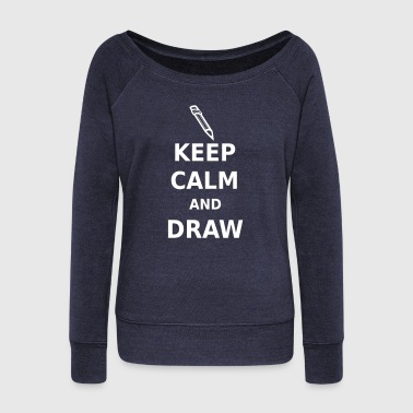 Keep Calm and Draw - Women's Boat Neck Long Sleeve Top
