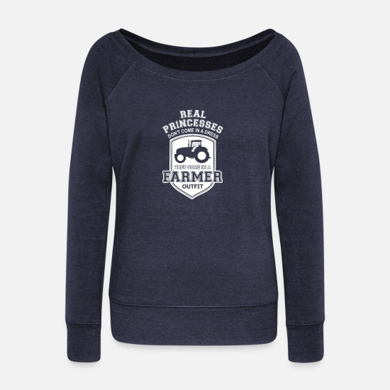Love Long sleeve shirts - Farmer birthday gift T-Shirt Trecker Love - Women's Wide-Neck Sweatshirt heather navy