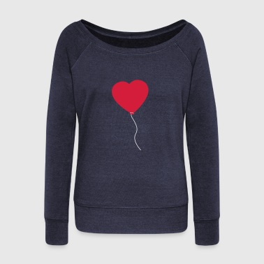 Love Heart Balloon - Women's Boat Neck Long Sleeve Top