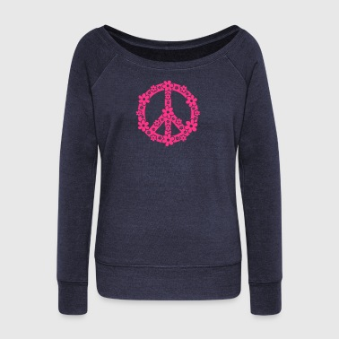 PEACE SYMBOL - peace sign, c, symbol of freedom, flower power, hippie, 68er movement, Woodstock - Women's Boat Neck Long Sleeve Top