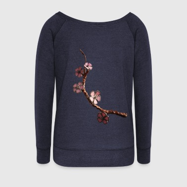 cherry blossom - Women's Boat Neck Long Sleeve Top