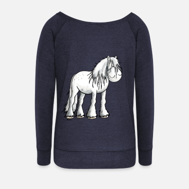 Horse Funny white Shire Horse - Women's Boat Neck Long Sleeve Top
