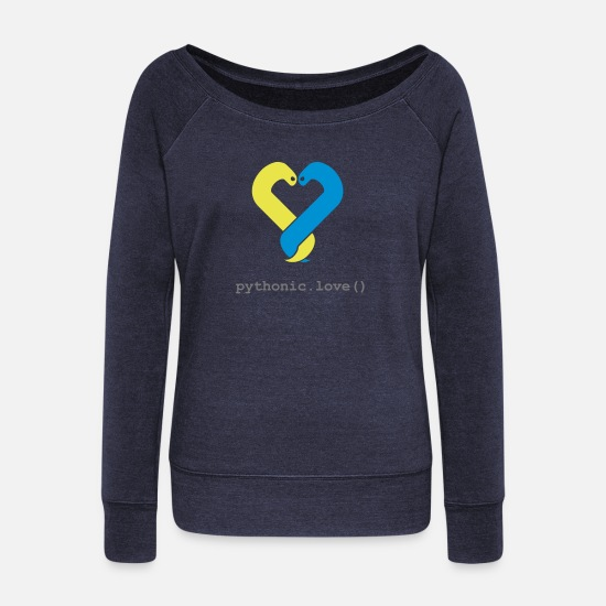 Love Long sleeve shirts - pythonic.love(black) - Women's Wide-Neck Sweatshirt heather navy