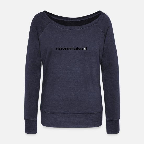 Mood Long Sleeve Shirts - nevernaked collection - Women's Wide-Neck Sweatshirt heather navy