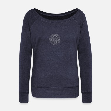 Silver Flower of life in silver - Women's Wide-Neck Sweatshirt