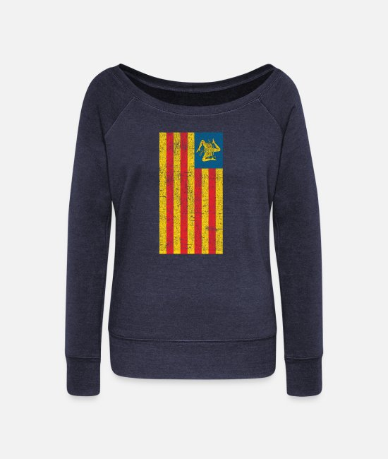 Proud Long-Sleeved Shirts - Sicilian Pride - Sicilia - Sicilian Flag - Women's Wide-Neck Sweatshirt heather navy