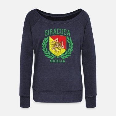 Cefalü Sicilia Flag and Shield with Trinacria - Siracusa - Women's Wide-Neck Sweatshirt