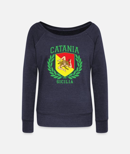 Proud Long-Sleeved Shirts - Sicilia Flag and Shield with Trinacria - Catania - Women's Wide-Neck Sweatshirt heather navy
