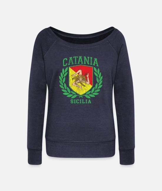 Proud Long-Sleeved Shirts - Sicilia Flag and Shield Trinacria - Catania - Women's Wide-Neck Sweatshirt heather navy