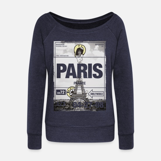 Smiley Shirts met lange mouwen - Smileyworld 'Paris Eiffel Tower' - Vrouwen U-hals longsleeve heather navy