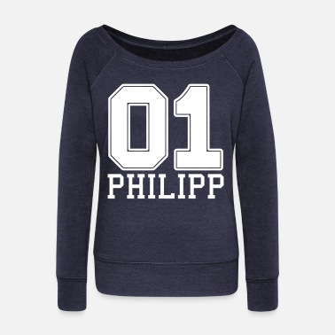 First Name Philipp name first name - Women's Wide-Neck Sweatshirt