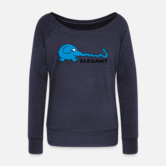 Animal Long Sleeve Shirts - Elegant - Women's Wide-Neck Sweatshirt heather navy