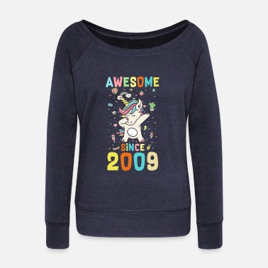 Awesome Awesome Since 2009 - Women's Wide-Neck Sweatshirt