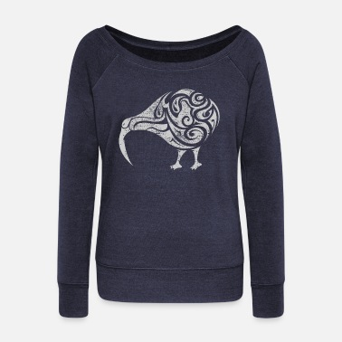 Abstract Abstract kiwi - Women's Wide-Neck Sweatshirt