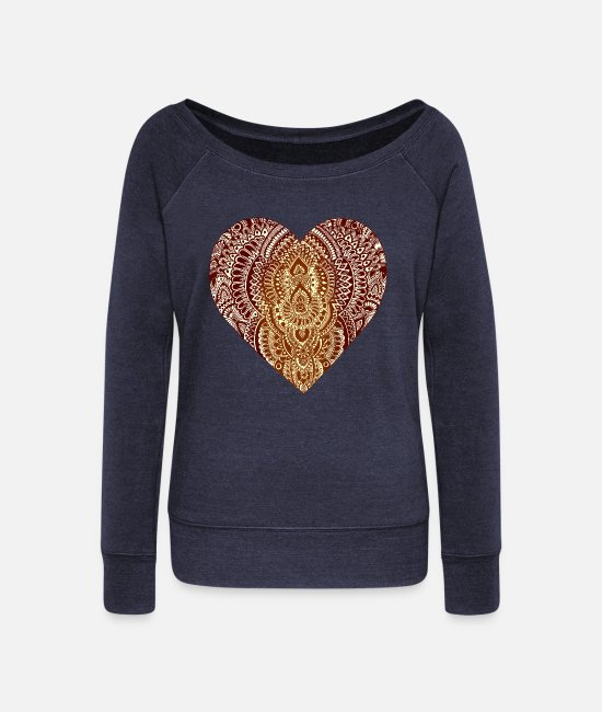Heart Long-Sleeved Shirts - Heart | heart - Women's Wide-Neck Sweatshirt heather navy
