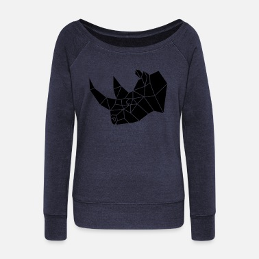 Stylish Stylish, simple rhino - Women's Wide-Neck Sweatshirt