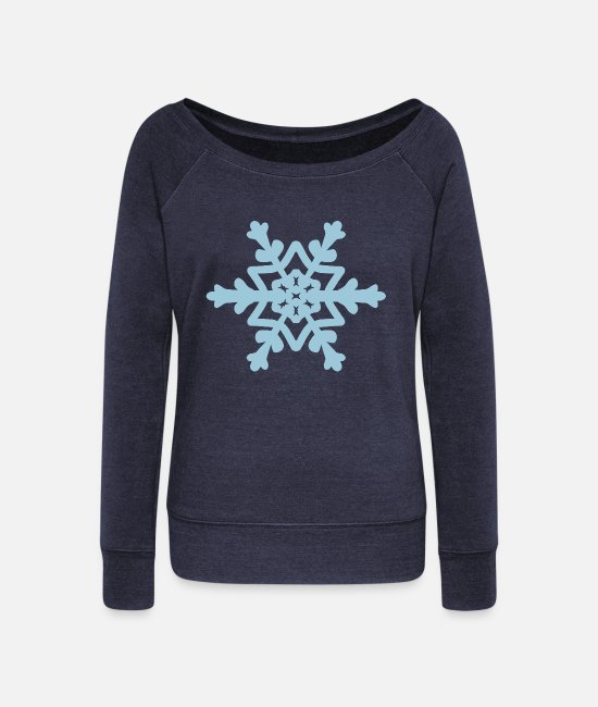 December Long-Sleeved Shirts - Snowflake / Snowcrystal winter design - Women's Wide-Neck Sweatshirt heather navy