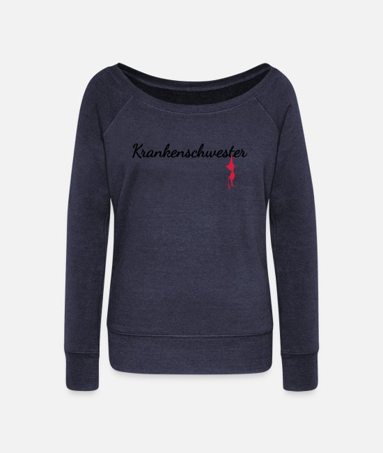 Medicine Long-Sleeved Shirts - Nurse - Women's Wide-Neck Sweatshirt heather navy