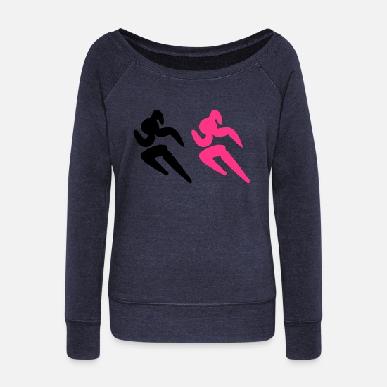Baseball Basketball Softball Golf Rugby Union Archerty Badminton Beachy Volleyball Boxing Long Sleeve Shirts - ❤✦Sexy Female Sprinters Wearing a Pony tail✦❤ - Women's Wide-Neck Sweatshirt heather navy