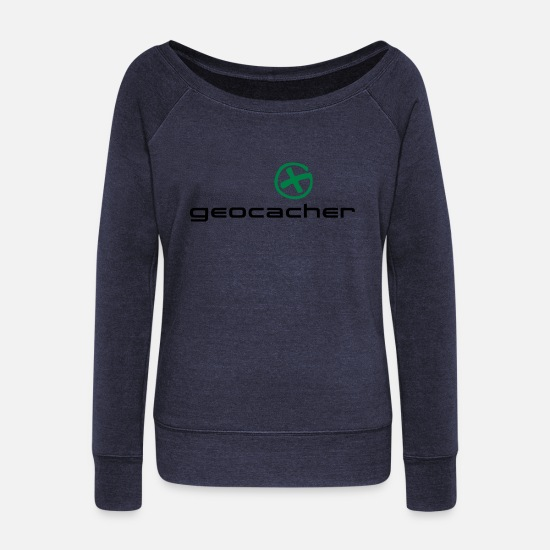 Cache Long sleeve shirts - geocacher - Women's Wide-Neck Sweatshirt heather navy