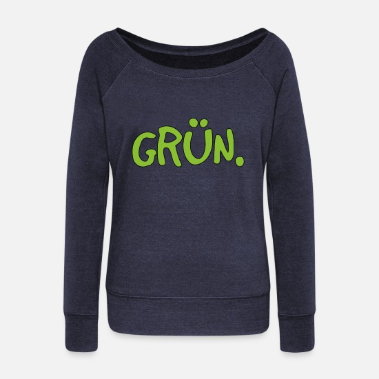 Enviromental Long sleeve shirts - green - Women's Wide-Neck Sweatshirt heather navy