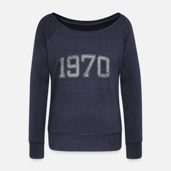 1970 Long Sleeve Shirts - 1970 vintage - Women's Wide-Neck Sweatshirt heather navy