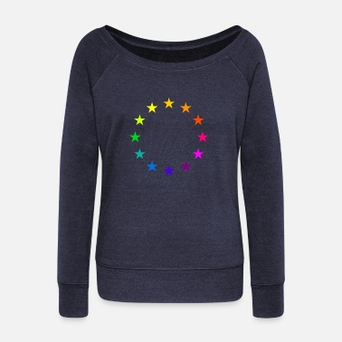 Brexit EU stars in rainbow colors Europe love LGBT - Women's Wide-Neck Sweatshirt