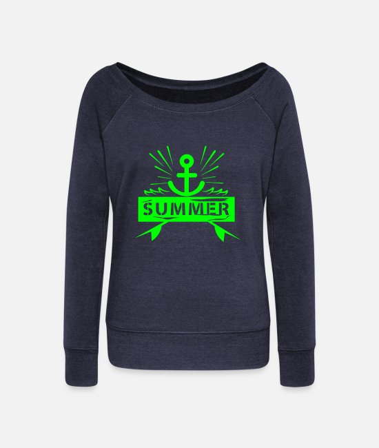 Water Long-Sleeved Shirts - Summer Anchor - Women's Wide-Neck Sweatshirt heather navy