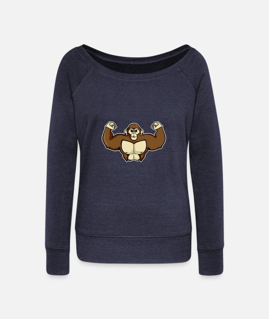 Easter Long-Sleeved Shirts - Muscle monkey gorilla shirt for kids - Women's Wide-Neck Sweatshirt heather navy