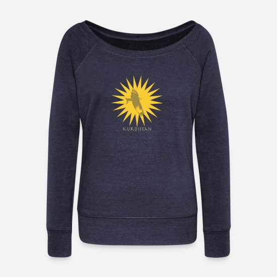 Irak Long sleeve shirts - Kurdistan - Women's Wide-Neck Sweatshirt heather navy