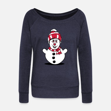 Funny Kids Snowman funny kids - Women's Wide-Neck Sweatshirt