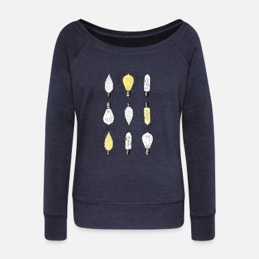 Light Bulb light bulbs - Women's Wide-Neck Sweatshirt