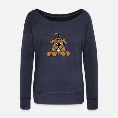 Playful playful dog - Women's Wide-Neck Sweatshirt