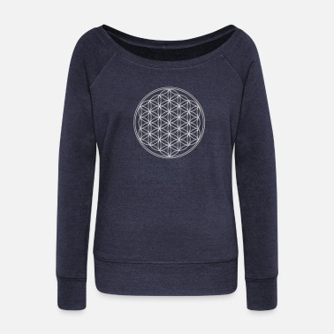 Light Flower of Life - FEEL THE ENERGY, Silver, Sacred - Women's Wide-Neck Sweatshirt