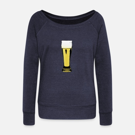 Wheat Long sleeve shirts - Wheat beer - Women's Wide-Neck Sweatshirt heather navy