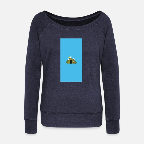 Nature Long sleeve shirts - Grizzly bear campsite - case - Women's Wide-Neck Sweatshirt heather navy