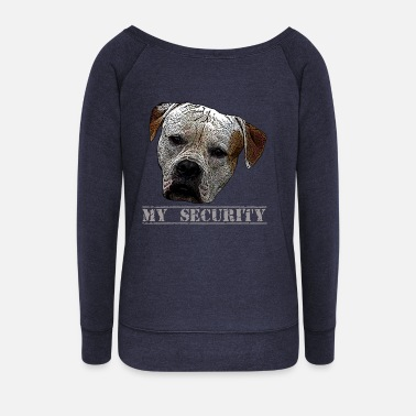 Attack Dog Attack dog, dog, dog head, security, guard dog - Women's Wide-Neck Sweatshirt