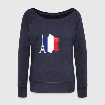 France with Eiffel Tower - Women's Boat Neck Long Sleeve Top