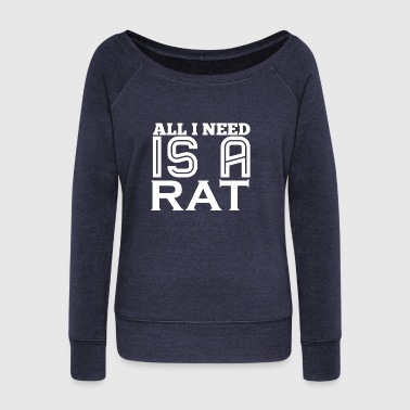 Rat Rats Pet Pets Love Mom - Women's Boat Neck Long Sleeve Top