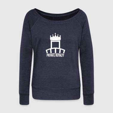 Private Royalty White Logo - Women's Boat Neck Long Sleeve Top