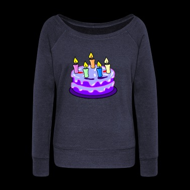 birthday cake - Women's Boat Neck Long Sleeve Top