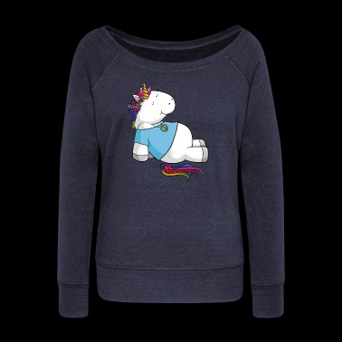 Hippie Unicorn cartoon - Women's Boat Neck Long Sleeve Top
