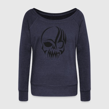 tribal skull - Women's Boat Neck Long Sleeve Top