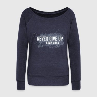 never give up - Women's Boat Neck Long Sleeve Top