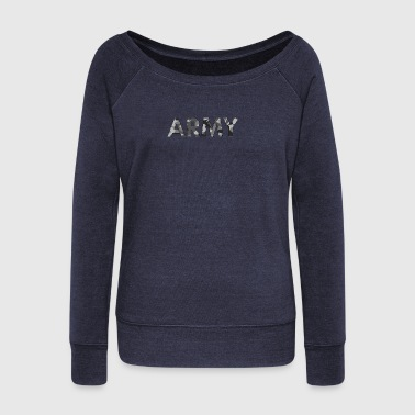 Army black white - Women's Boat Neck Long Sleeve Top