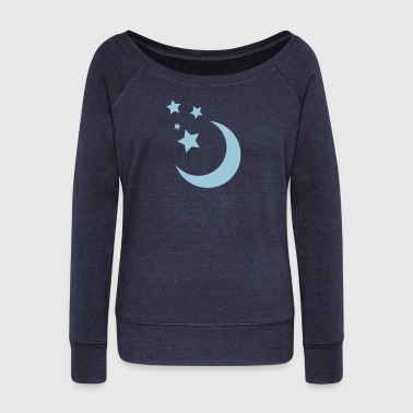 Stars and Moon - Women's Boat Neck Long Sleeve Top
