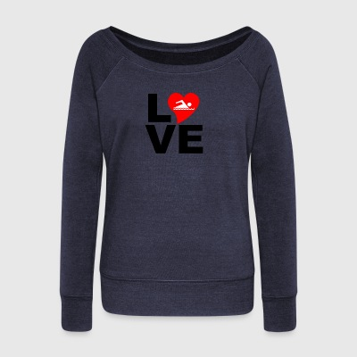 Love swimming - Women's Boat Neck Long Sleeve Top